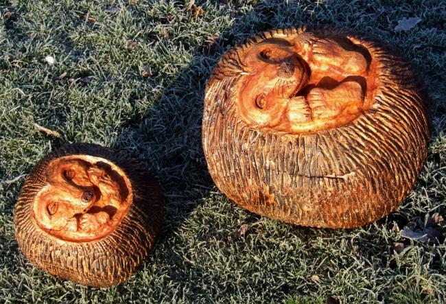 Wooden hedgehog ball garden sculpture buy animals