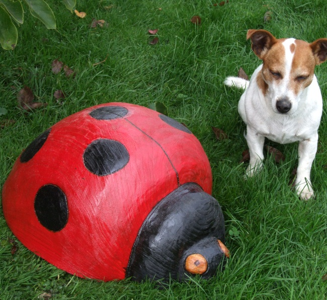 Painted Wooden Ladybird Sculpture Garden Sculpture Find Wooden