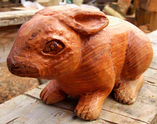 Garden Sculpture : Wooden Animals : Wooden Rabbit Garden Sculpture