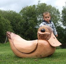 Wooden Rocking Duck Garden / Play Sculpture