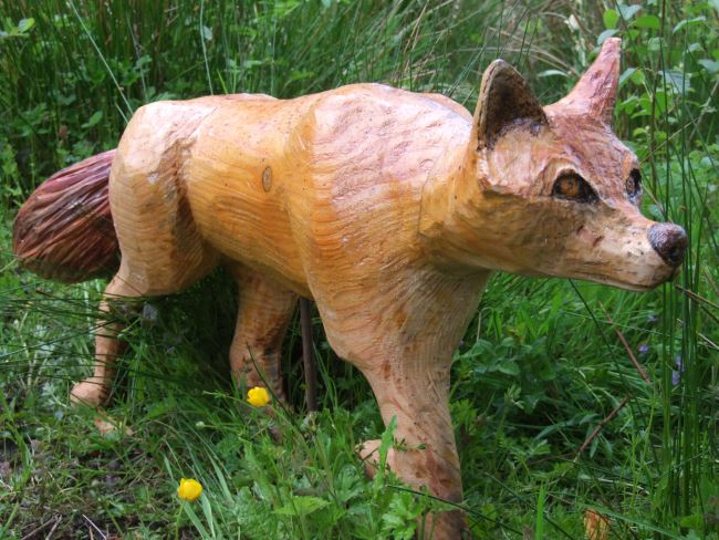 Garden Sculpture : Wooden Animals : Carved Fox