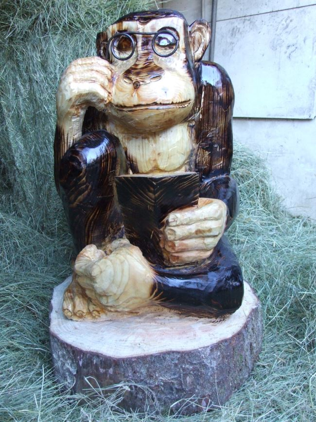 Garden Sculpture : Wooden Animals : Wise Monkey Limited Edition Sculpture