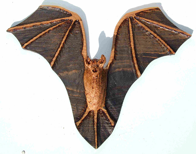 Garden Sculpture : Wooden Animals : Carved Wood Bat Sculpture Garden Feature