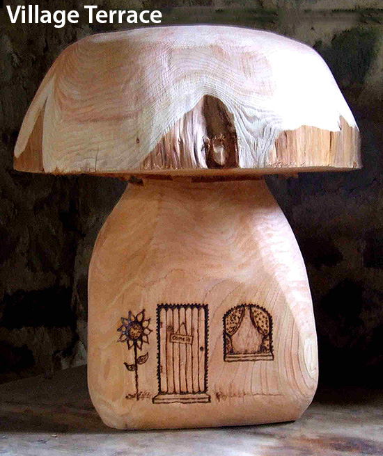 wooden mushroom seats with house design