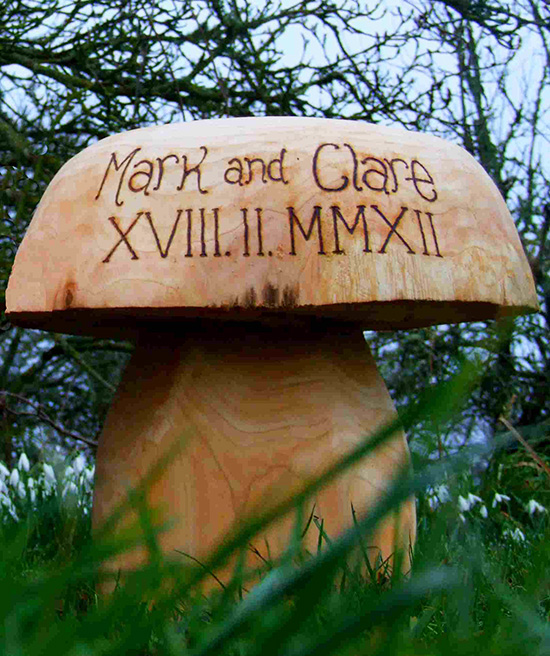Garden Sculpture : Mushroom Seating : Wooden Mushroom Seats   Wedding Range  Personalised Wedding Gift