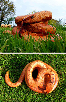 Hand Carved Wooden Snake Garden Sculpture