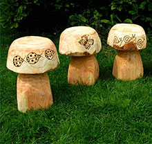 Wooden Mushroom Seats with Bug Design