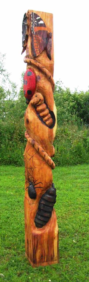 Schools/Playtime : Totems : Bug Totem in Western Red Cedar
