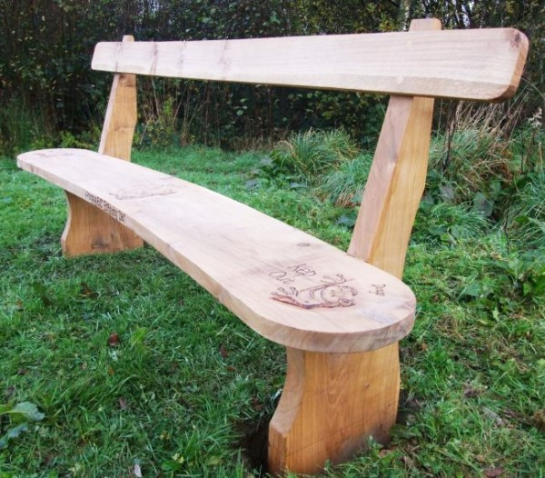 Memoral Curved Rail Back Oak Bench