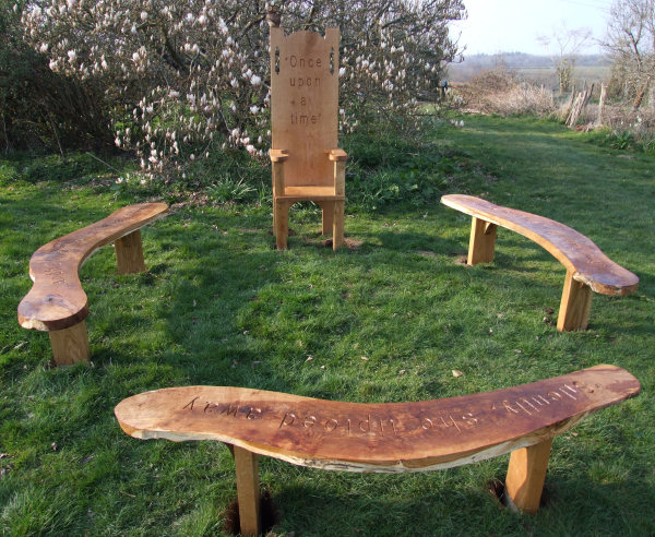 Childrens School Playground Garden Oak Story Telling Bench