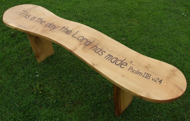 Memorials : Memorial Benches and Chairs : Memorial Curved Oak Bench - 7ft