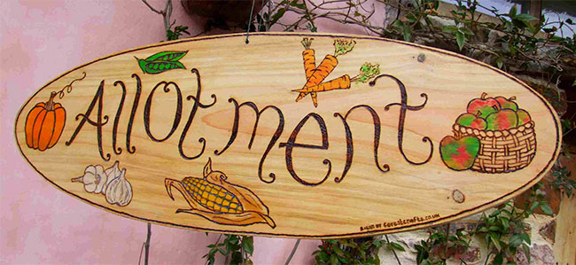 Signs : Wooden Garden Signs : Oval Wooden Garden Sign - Veg Patch Design