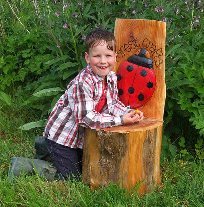 Schools/Playtime : Story Telling Chairs : Storytelling Log with Ladybug Design