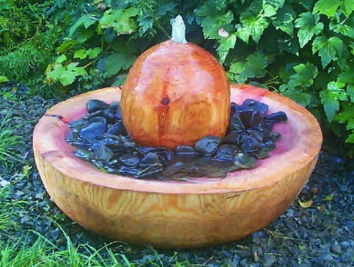 Garden Sculpture : Water Features : Wooden Water Feature - Ball 'n' Bowl
