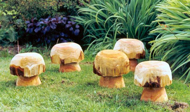 Button mushrooms garden sculpture buy wooden mushrooms and toadstools sculptural wooden - Wooden garden ornaments ...
