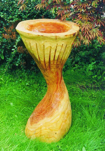 Garden Sculpture : Bird Baths : Bird Bath - Large Carved Wood