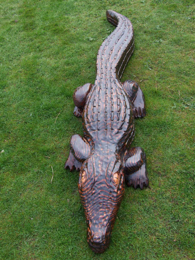 Wooden crocodile garden sculpture buy animals