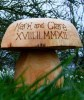 We offer an exclusive personalised wedding range in our popular garden seating mushrooms. Carved out of a single piece of durable wood, these mushroom seats make a unique wedding gift for family or friends. They can be left to mature naturally or simply oiled to bring out the wonderful grain patterns of the wood. The larger mushrooms are hollowed out to give surprisingly comfortable seating.We hand engraved these mushrooms using a pyrography tool....