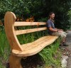 This original Wavy Oak Bench is made to our own unique design. If is comfortable to sit on, has simple elegant lines and shows pure class. -The legs are made extra long so that they can be bedded into the ground to the height that you require.Length 7ft (223cm)-Price includes delivery.Engraved words or phrases can also be carved onto the bench to commemorate that special person or occasion.If you would like wording carved on your bench, please ri....